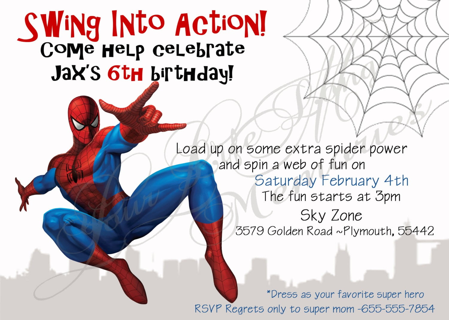 Spiderman Party Invitations Template