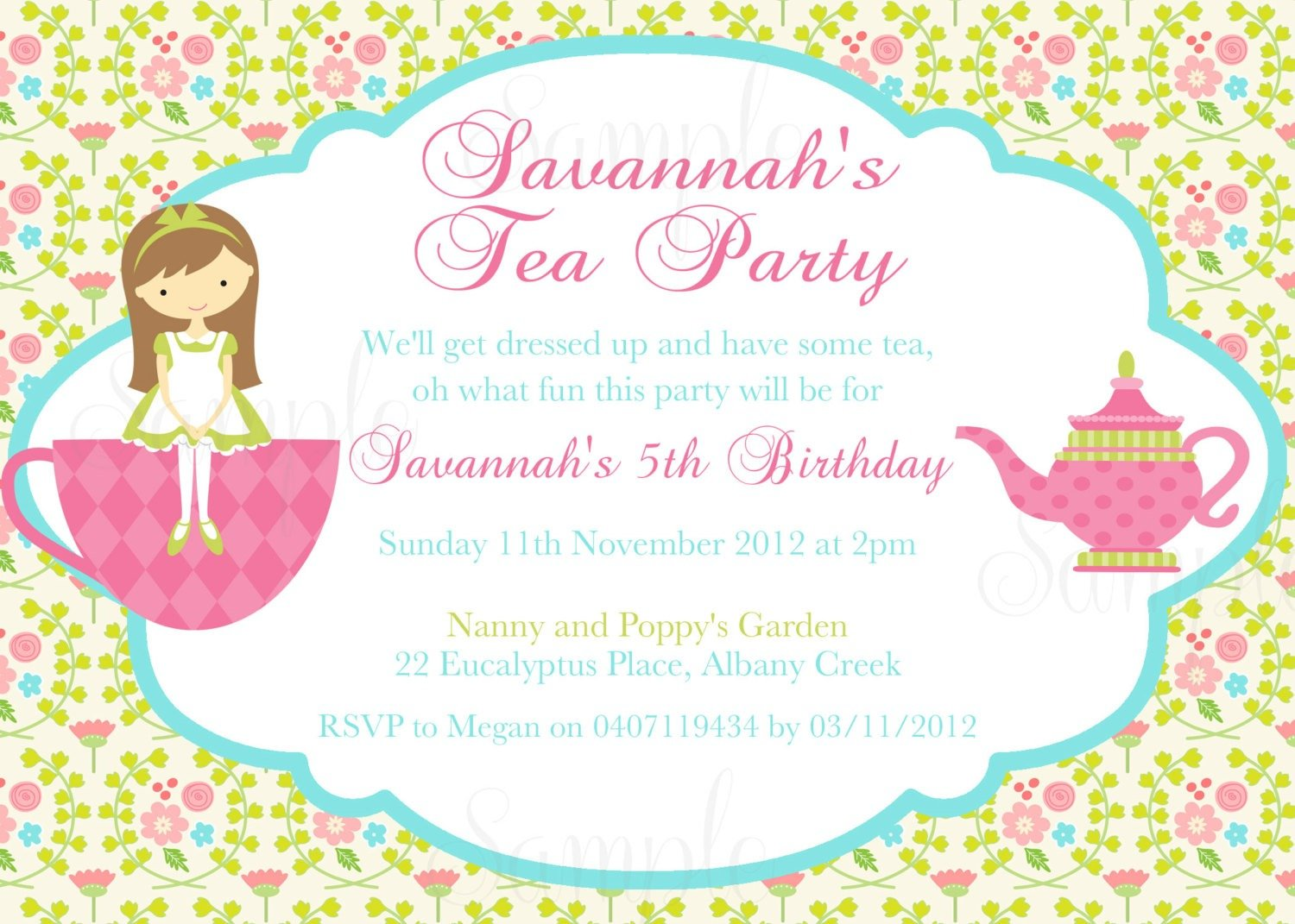 Tea Party Invite Best Girls Tea Party Invitation