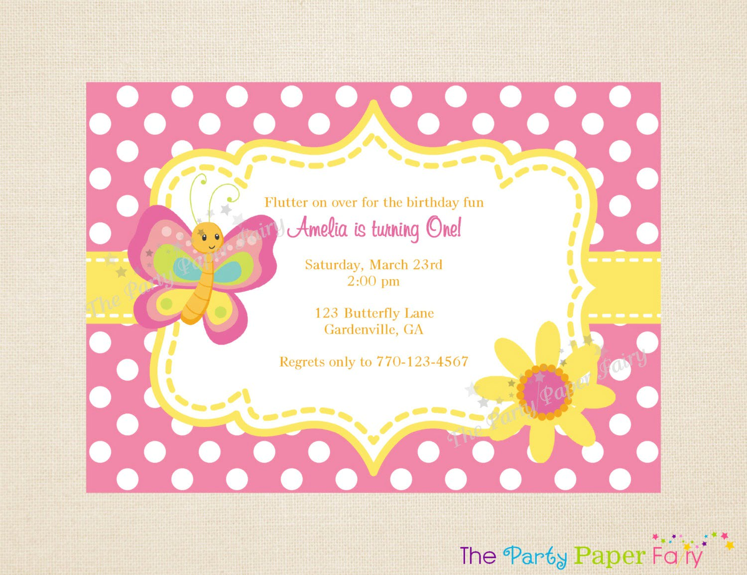 Template Baby Girl Birthday Invitations Conjunction First Pink And