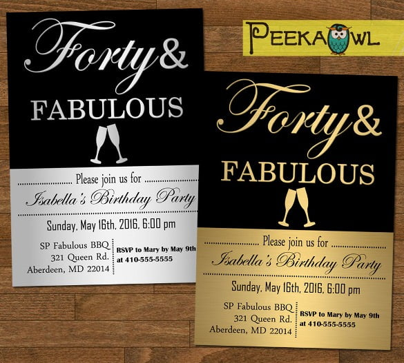 Cefeeebdba Perfect 40th Birthday Invitation Templates