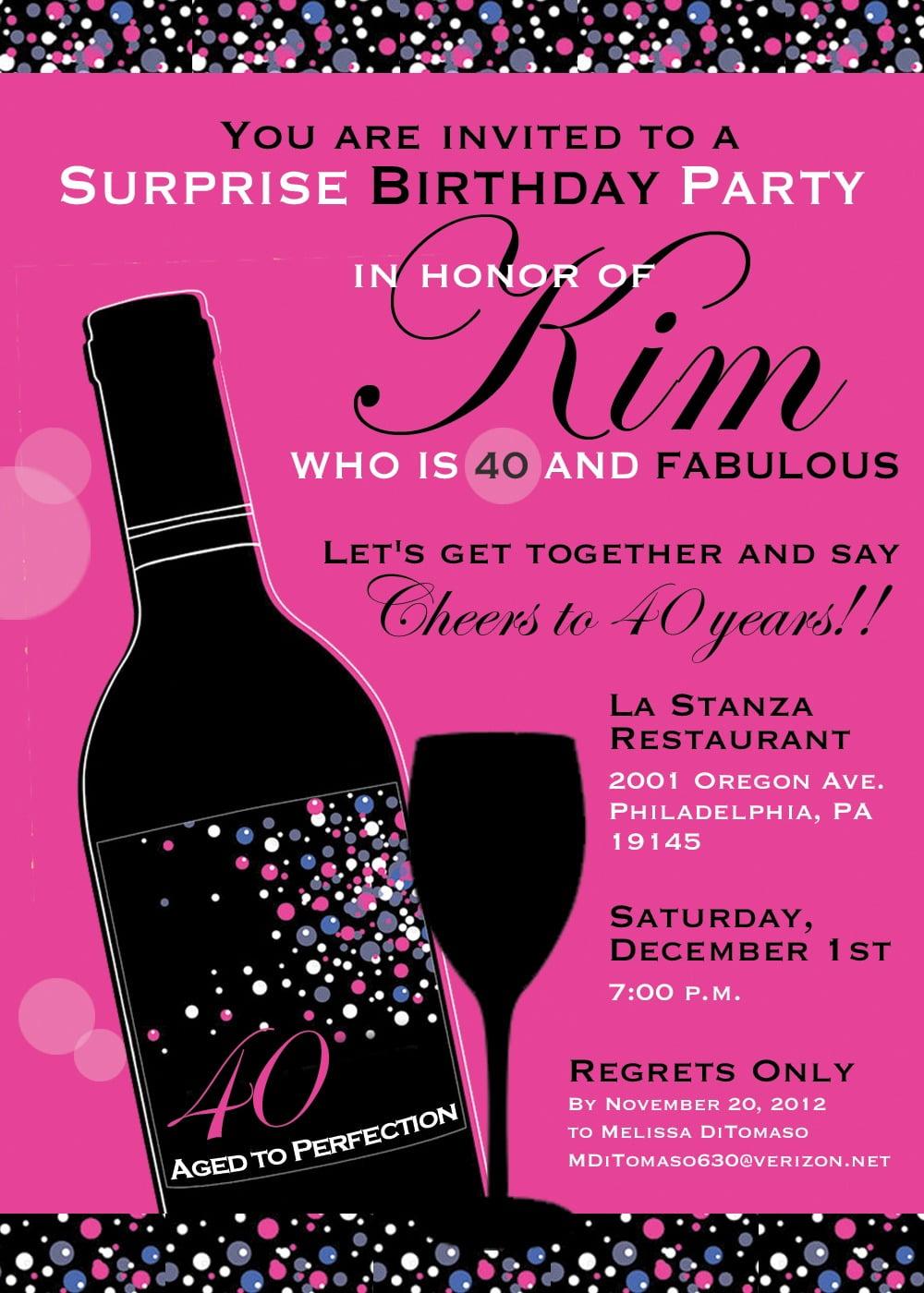 Th Birthday Invitations Nice 40th Birthday Party Invitation