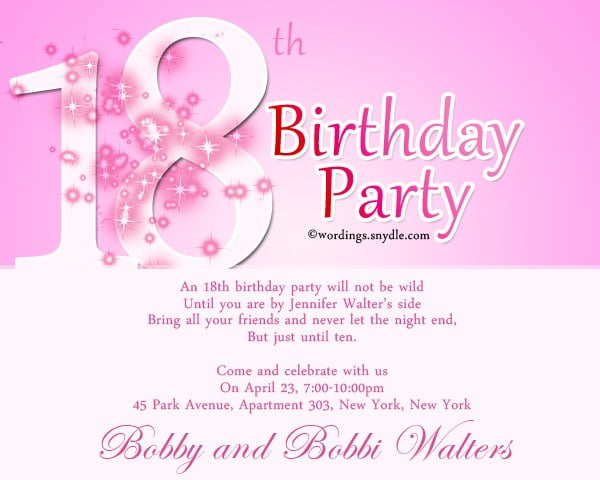 Th Birthday Party Invitation Wording Fancy 18th Birthday