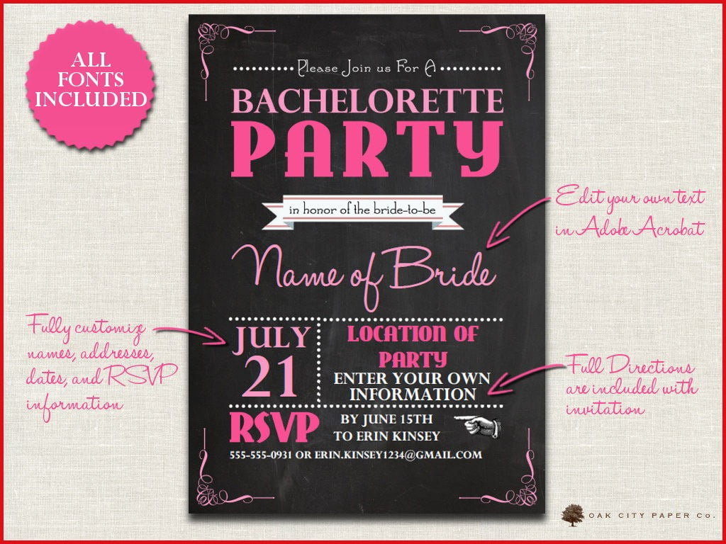Unique Bachelorette Party Invitation Templates 23 With Additional
