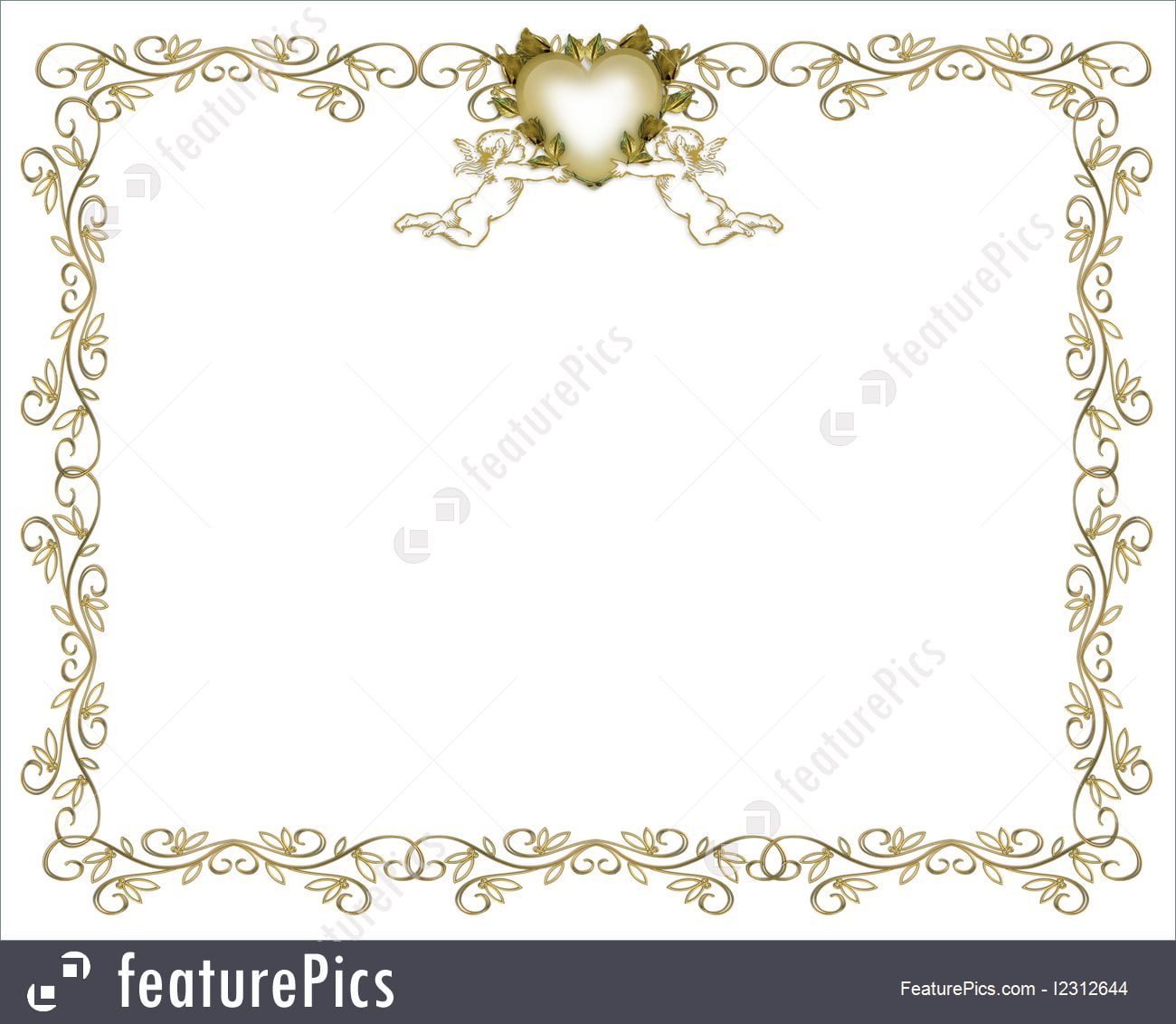 Templates  Wedding Invitation Gold Border Angels