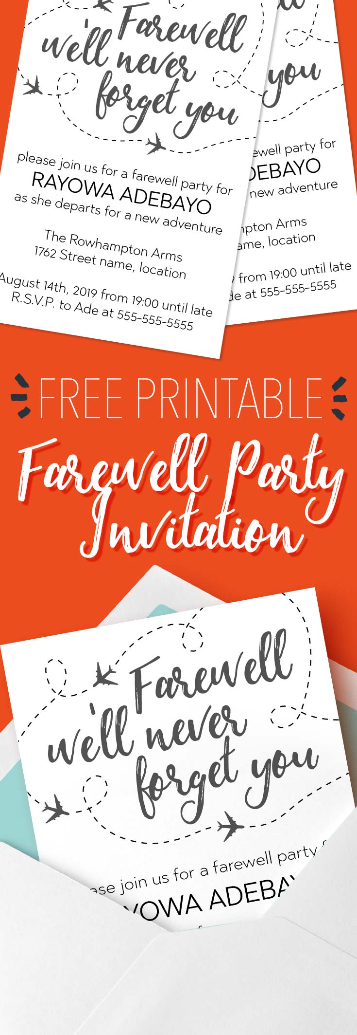 We'll Never Forget You Farewell Invitation