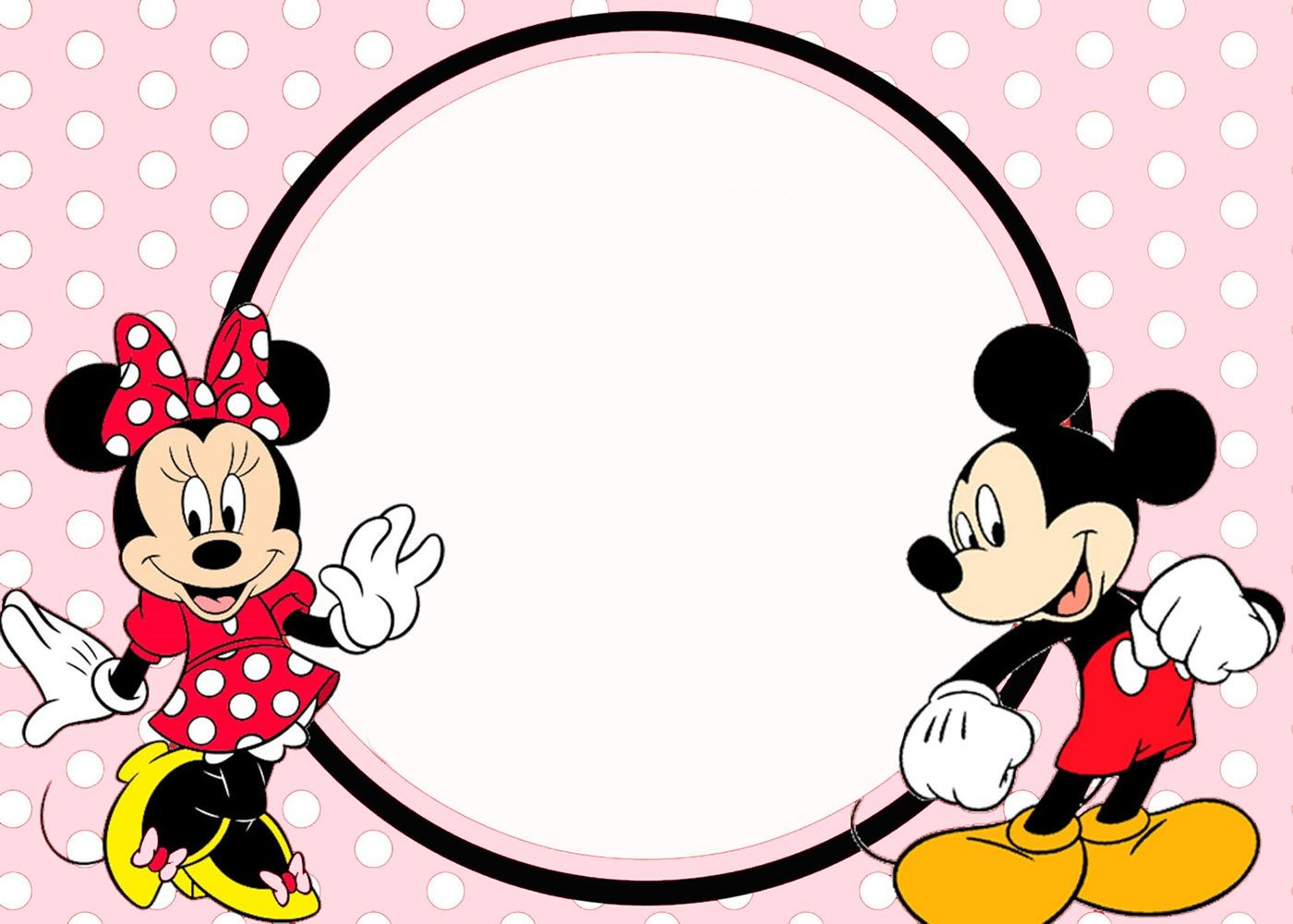 Minnie And Mickey Invitation Template